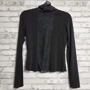 Tops - Black Lace fitted long sleeve crop top turtle neck